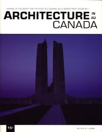 Architecture au Canada - Vol. 33, no 1